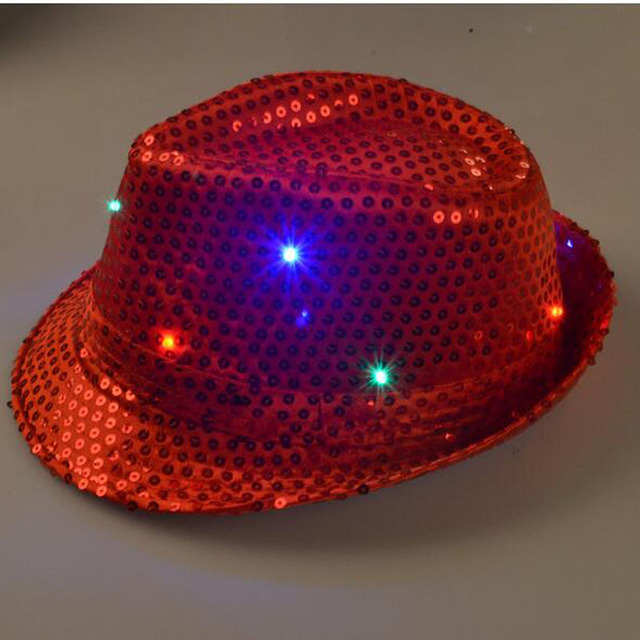 Бесплатная Доставка красочный LED вспышкой светоизлучающие Огни Новинка Красные Блестки Ковбой Танцы Cap
