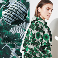 In the autumn of 2016 design new thread polyester jacquard fabric clothing cloth coat fashion green leaves
