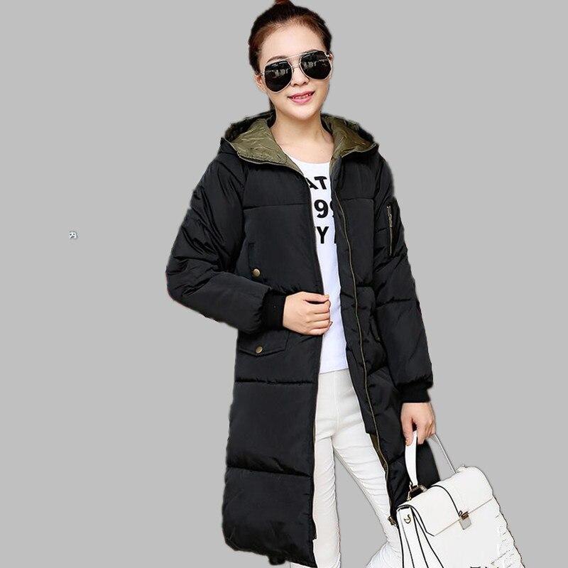 M-3XL Kış Kadınlar Aşağı Ceket X-uzun Kalınlaşmak Gevşek Ceket Sıcak Kapüşonlu Parkas Katı Kadın Pamuk Yastıklı Palto 3 renkler H48