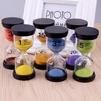 6 piezas reloj de arena 1 3 5 10 15 30 minutos para fiesta de Navidad accesorios para el hogar decoración regalo de Navidad Color aleatorio