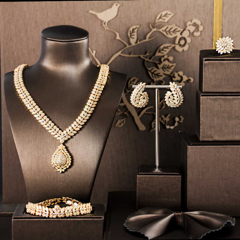 LANFLORA עגילי תכשיטים 2018 זהב צבע יוקרה מעוקב zirconia תכשיטי סטי ארבע חתיכות bijoux mariage