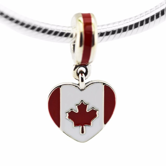 Fits pandora Bracelet Canada Heart Flag Beads Original 925 Silver DIY Jewelry Making for Women Fashion Floating charms Gift