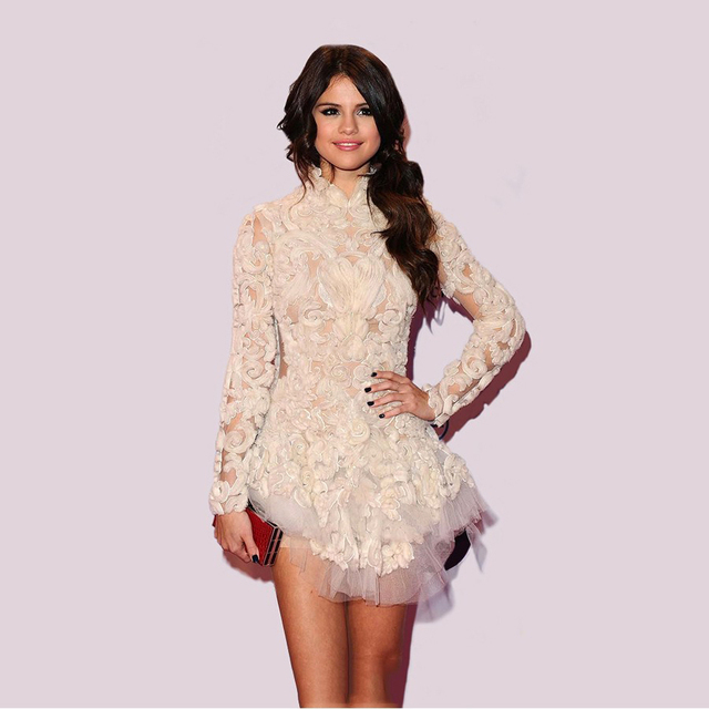 4bf924f4b3b Selena Gomez Dress 2016 New Red Carpet Dresses Short White Party Dresses  Mini Homecoming Dress Long Sleeve Vestido De Renda