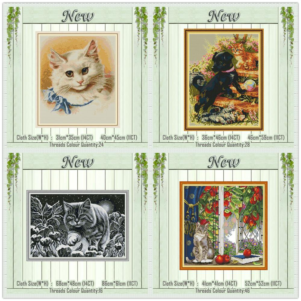 Black Kitten Oil Painting Cat Decor Painting Counted Print On The Canvas DMC 11CT 14CT Kit Cross Stitch Embroider Needlework Set