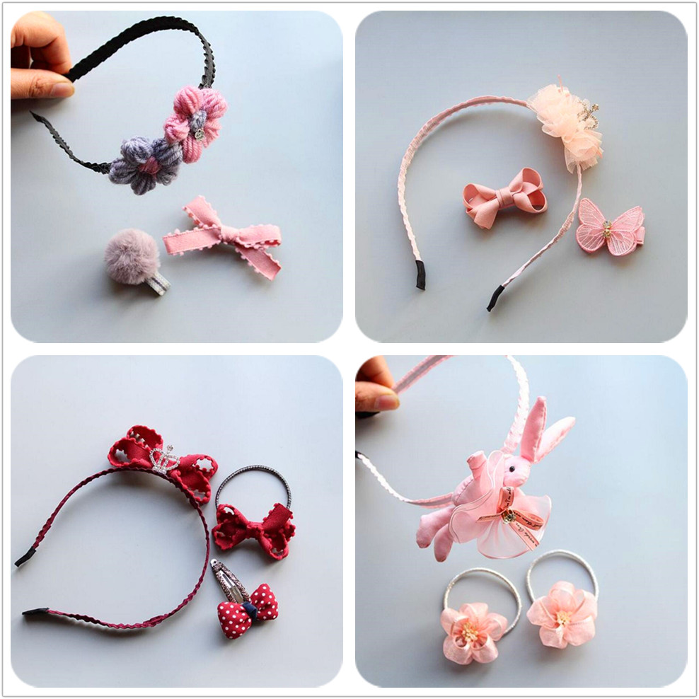 2018 new Girls 3pcs hair accessories kid flower bunny hairbands crown hair bow clip hairpin elastic hair ties rubber bands T49 grosgrain ribbon kids boutique hair bow alligator clip toddlers elastic hair rubber bands hair ties girls hair accessories z21
