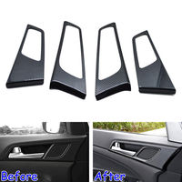 4pcs Set Carbon Fiber Style Car Interior Side Door Handle Bowl Cover Trim For Hyundai Tucson