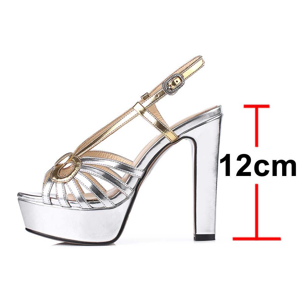 Meotina, sandalias de mujer, zapatos de verano, plataforma de colores mezclados, zapatos de tacón de fiesta grueso, hebilla Sexy, Sandalias de tacón súper alto para mujer 33-40