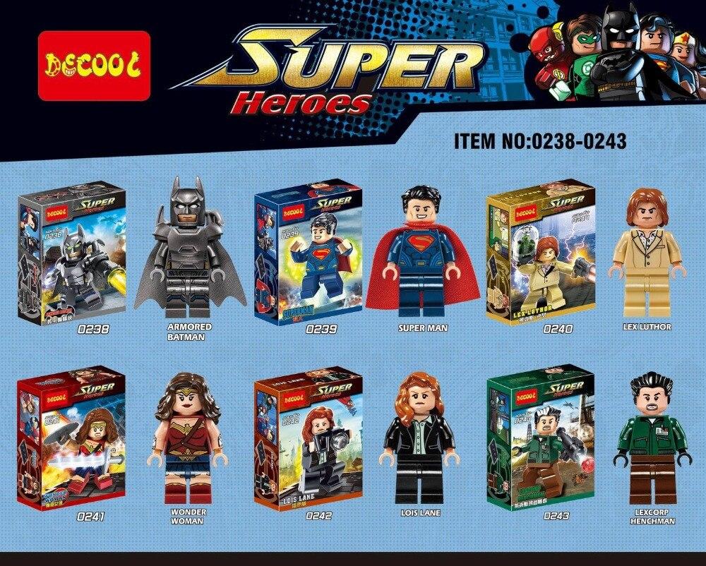 6 шт. Decool 0238-0243 здания Конструкторы Super Heroes бронированный Бэтмен супер человек Лекс Лютор Wonder Woman Лоис lane lexcorp подручный