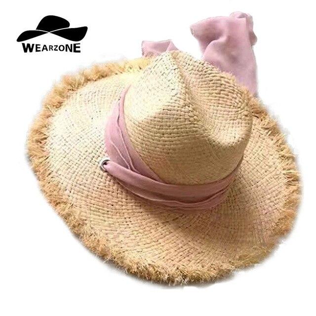 300582ac WEARZONE Brand Women Natural Wide Brim Raffia Straw Hats Fringe Women Plain Large  Beach Summer Sun Caps Big Straw Cap Scarf Cap