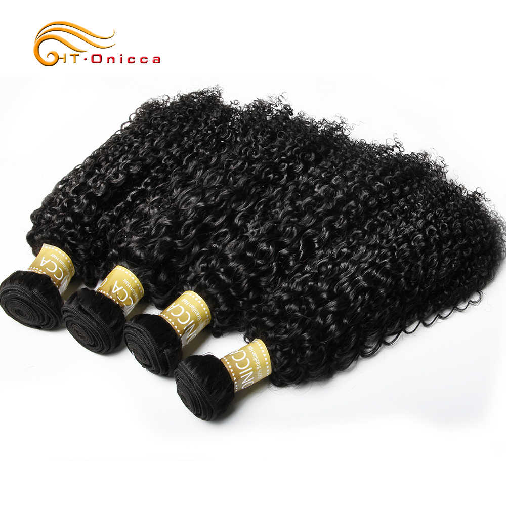 Onicca Keriting Keriting Rambut Brazilian Menenun Kesepakatan Rambut Ekstensi 8-28 Inch Remy Rambut Manusia 100% Bundel 1/3/4 Buah
