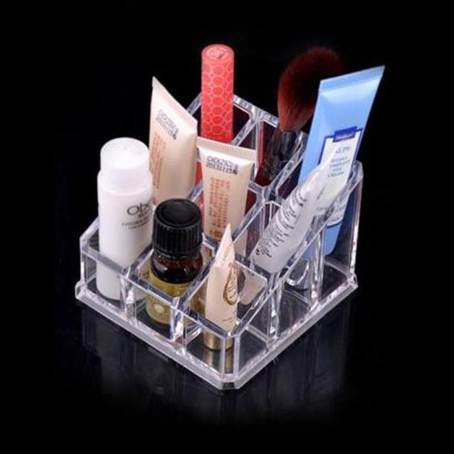 9 Grid Acrylic Makeup Organizer Box Clear Cosmetic Organiser Drawer