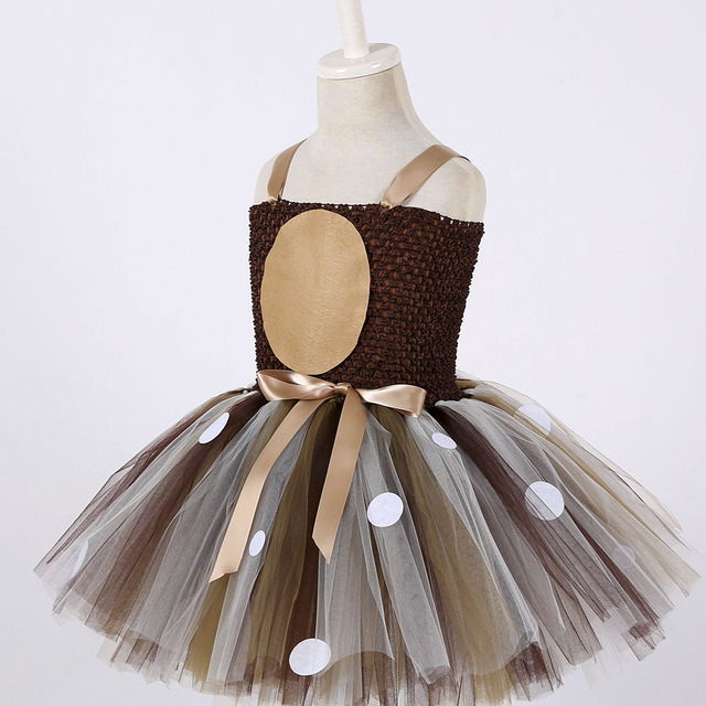 Deer Tutu Dress Happy Purim Baby Girls 1st Birthday Party Dresses Carnival Halloween Winter Cosplay Costume Clothes For Kids 3