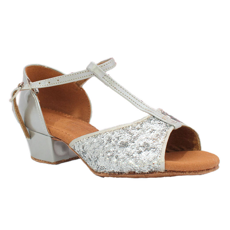 ФОТО Girls Latin Dance Shoes BD 602 Sliver Paillette Low Square Heel Leather Sole Dancesport Young Dancing Ballroom Dance Sandal
