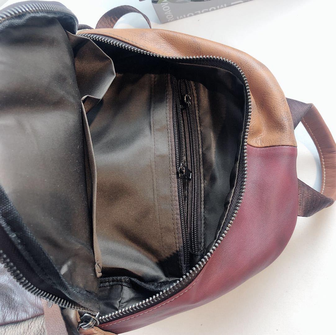 Patchwork prawdziwej skórzany plecak kobieta w stylu Vintage skóra naturalna codzienny plecak 2019 kobiety kobiece wysokiej jakości plecak na co dzień w Plecaki od Bagaże i torby na  Grupa 2