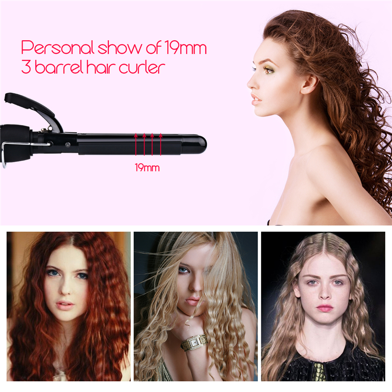 19mm Curler Tools 110-240V Curling Irons Triple Barrel Curling Iron Ceramic Hair  Professional Salon Hair Style rizador de pelo professional salon ptc heating ceramic negative ions steam automatic hair curler hair style tools