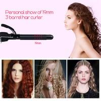 19mm Curler Tools 110 240V Curling Irons Triple Barrel Curling Iron Ceramic Hair Professional Salon