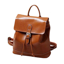 цены Korean version of the new retro fashion wax cowhide leisure shoulder backpack leather shoulder  ladies bag