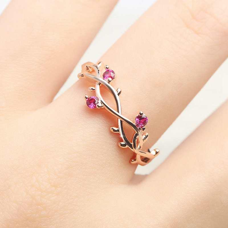 Cute Dainty Branch Ring Floral Rose Gold Engagement Ring For Female Crystal Zircon Leaf Adjustable Ladies Wedding Rings Jewelry