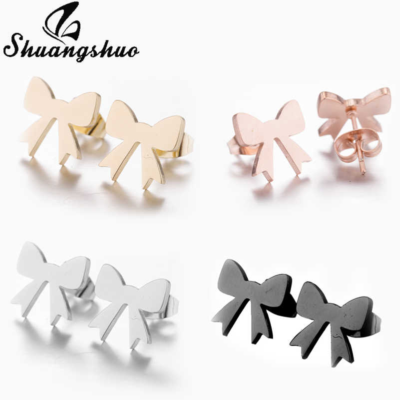 Shuangshuo Sweets Jewelry Women's Bowknot Earrings Female Bow-knot Stud Earrings for Women Accessories Stainless Steel Earrings