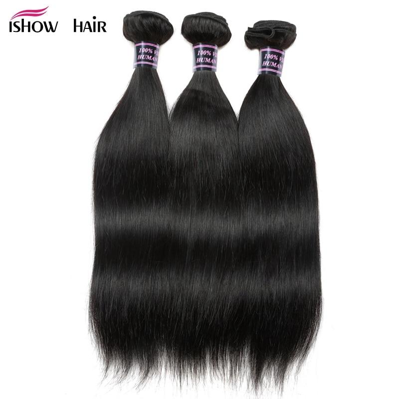 Ishow Straight Hair 3 Bundles Indian Human Hair Weave Extensions 100 Human Hair Bundles Non Remy