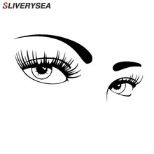 SLIVERYSEA A Pair of Beautiful Eyes Car Stickers Covering The Body Fashion Vinyl Decals Styling Black/Silver
