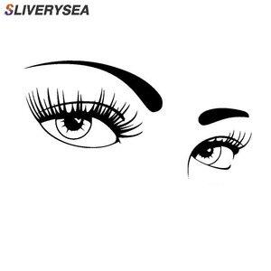 Image 1 - SLIVERYSEA Bir Çift Güzel Gözler Araba Çıkartmaları Kaplama Vücut Moda Vinil Çıkartmaları Araba Styling Siyah/ gümüş