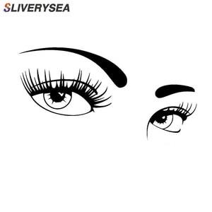 Image 1 - SLIVERYSEA parę piękne oczy naklejki naklejki samochodowe obejmujące ciała mody etykiety winylowe Car Styling czarny/srebrny