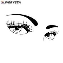 SLIVERYSEA un par de hermosos ojos de pegatinas de coche que cubren el cuerpo de la moda adhesivos de vinilo para coche de Estilo negro/plateado