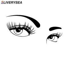 SLIVERYSEA زوج من عيون جميلة من ملصقات السيارات تغطي الجسم من شارات الفينيل الموضة تصفيف السيارة أسود/فضي