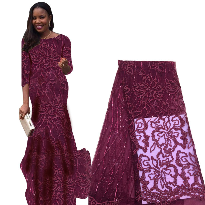 Latest French Swiss Tulle Sequin Lace Fabrics 2019 African Voile Lace Fabric Wedding Party Nigerian Lace Fabrics