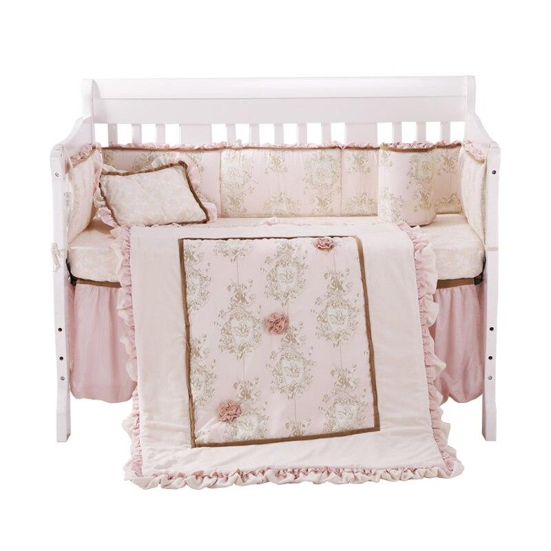 7 шт., детская кроватка, детская комната, детский спальный комплект, детское постельное белье, Цветочная кроватка, Комплект постельного бель