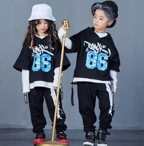 Boys Girls Street Dance Clothing Outfits for Kids Loose Casual Sports Suit Children Hip Hop Costumes Three Piece Set цена