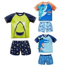 2020 Kids Boys Swimsuit Surf Cool Animal Printed Summer Short Sleeve Swimwear Two Piece Bath Beach Clothing