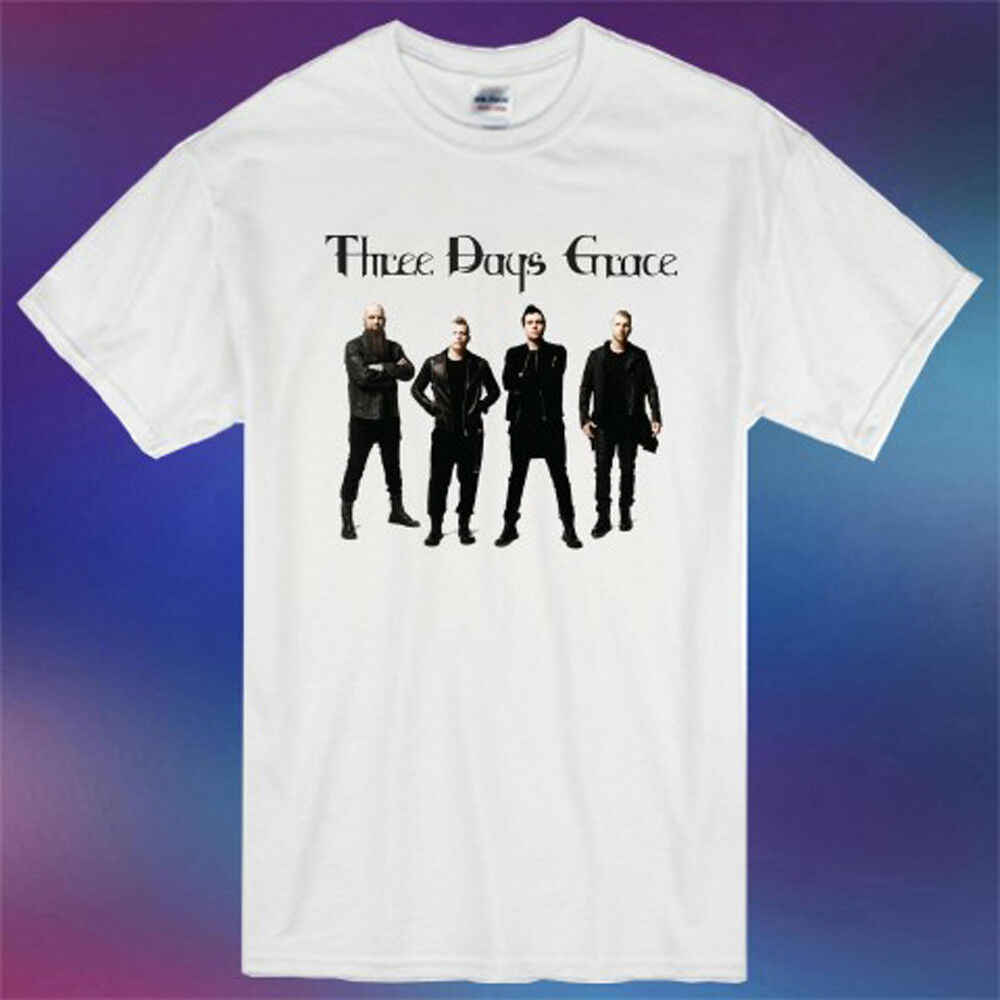 Three Days Grace Band Personels Tour Poster Logo Men's White T-Shirt Size S-3XL