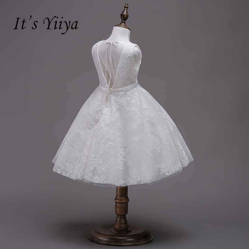 It's yiiya Bow Lace Zipper Backless   Flower     Girl     Dress   Kid Child Cloth Princess Ball Gown   Dress   For Party Wedding   Girl     Dress   S228