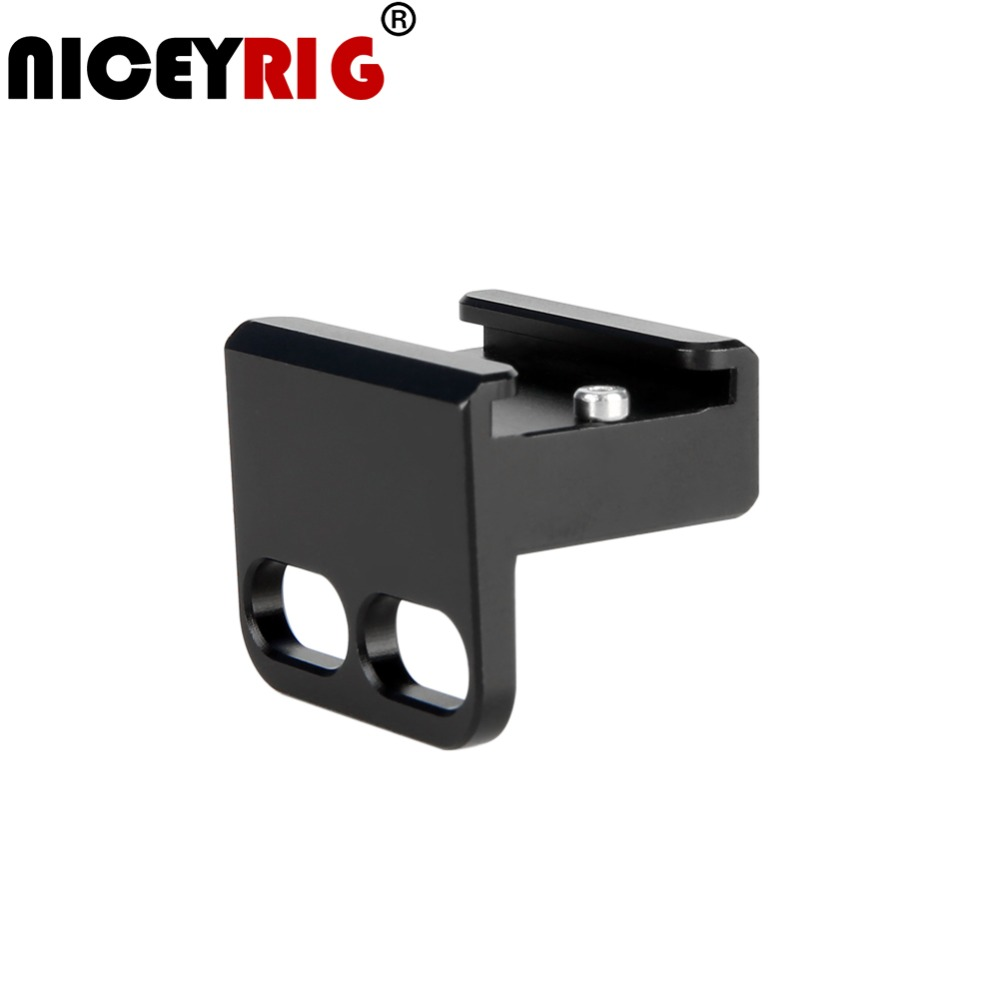 "NICEYRIG Cold Shoe Mount 1/4"" Screw Hot Shoe Stand Camera Cage Rig 1/4 Cold Shoe Flash Microphone Bracket DSLR Cage Support Rig-in Camera Cage from Consumer Electronics"