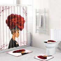 Toilet Mat In Bath African Woman 4pcs Shower Curtain Set Bathroom Rug Set for Home Decor Bathroom Carpet Set Anti Slip Blanket