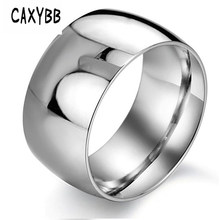 Caxybb Glossy Personality Men's Ring Fashion Titanium Steel male party rings for men male vintage finger ring black gold white(China)
