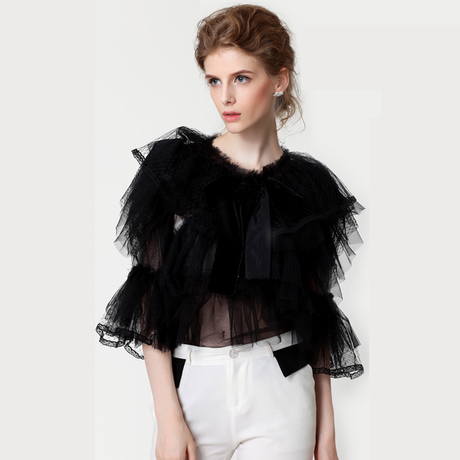 2016 New Runway Spring&summer Fashion Vintage Princess Blouse Royal Lace Gauze Patchwork Bow Design Chiffon Tops Blouse Shirt
