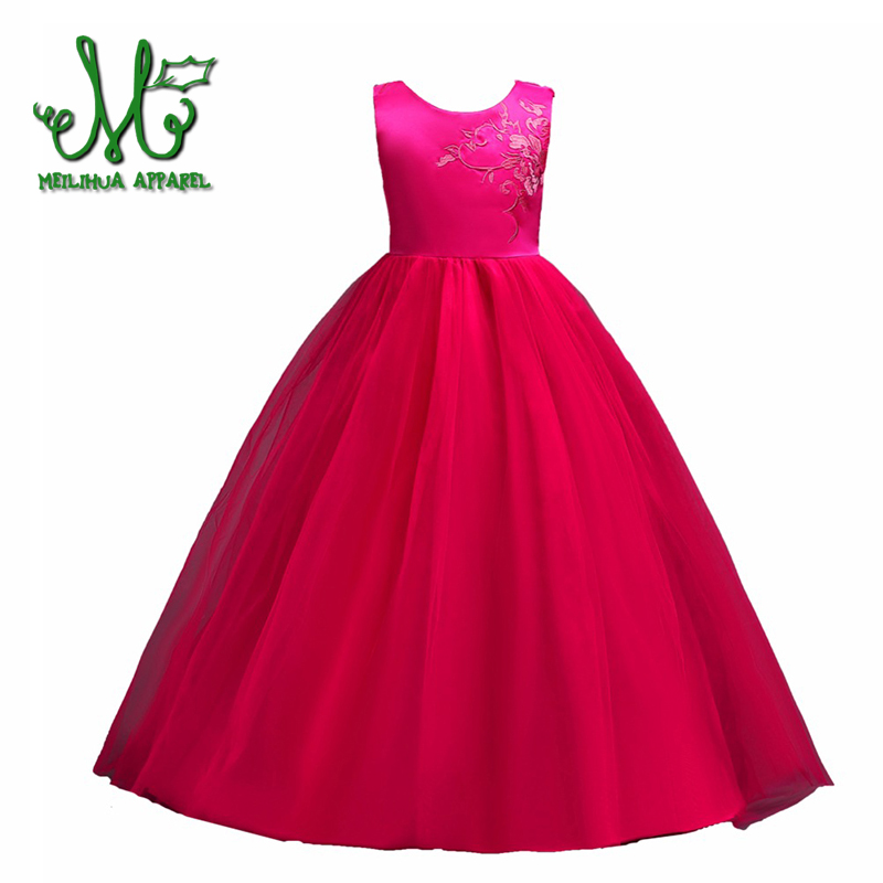 Embroidery Girl sleeveless Dress High grade Wedding Dresses Rose red pink White Bow Girls Princess Clothes for 6 8 10 12 14 16 Y lace red girls dress rose tutu dress for wedding clothes with bow knot infant girls clothes white light pink baby clothing 2017
