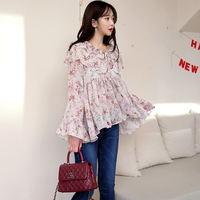 Qlychee Spring Autumn Vintage Women S Flower Print Flare Sleeve Ruffle Chiffon Blouse Shirt Loose Shirts