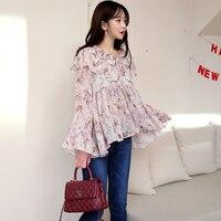 Qlychee Spring Autumn Vintage Women S Flower Print Flare Sleeve Ruffle Chiffon Blouse Shirt Loose Shirts