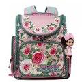Russian Children School Bags Pink Flower Printed Waterproof Orthopedic Nylon Kids Girls Backpack 3D Schoolbag Mochila Infantil