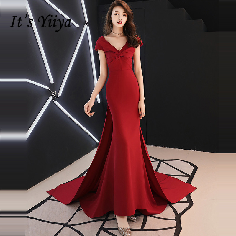It's YiiYa   Evening     Dress   2019 Big Bow V-neck Backless Train Trumpet Wine Red   Evening   Gowns Party   Dresses   TR029 robe de soiree