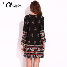 Retro Ethnic Style Mini Dress Summer 2020 Casual Loose Long Sleeve V Neck Flowers Print Beach Dresses Plus Size Women Clothing