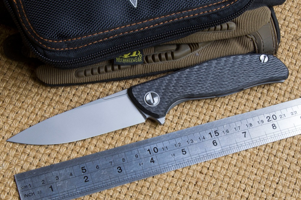Green thorn hati 95 Flipper folding knife D2 blade ball bearing carbon fibre camping hunting outdoor fruit Knives EDC tools цена и фото