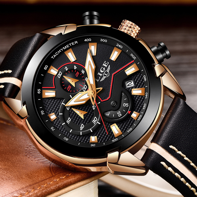 LIGE Fashion Mens Watches Top Brand Luxury Waterproof Quartz Watch Men Casual Leather Military Sports Watches Relogio Masculino weide top brand watches men quartz lcd digital fashion military casual sports watch luxury brand relogio outdoor wristwatches