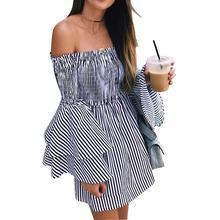 2019 New Yfashion Women Stylish Summer Off-shoulder Flared Sleeve Dress