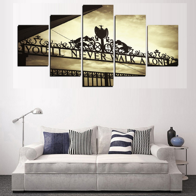 Frame Wall Art Poster Modern 5 Panel You Will Never Walk Alone Living Room Canvas HD Print Painting Modular Home Decor Pictures
