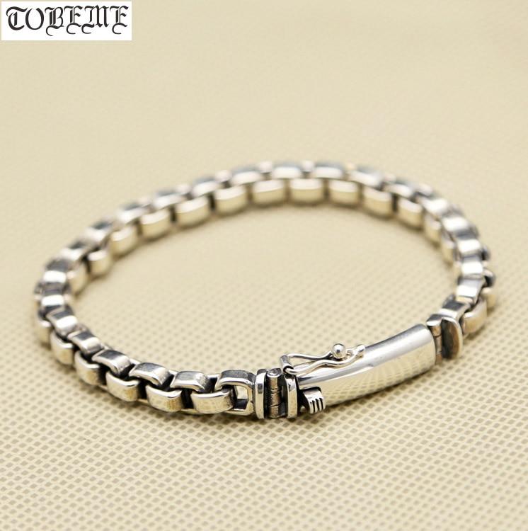NOUVEAU! Bracelet à maillons en argent 925 artisanal Bracelet en argent Sterling Vintage Bracelet en argent pur véritable homme